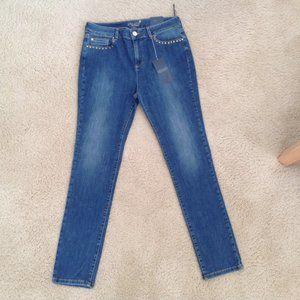 Per Una Embellished Mid Blue Slim Leg Jeans 12/30